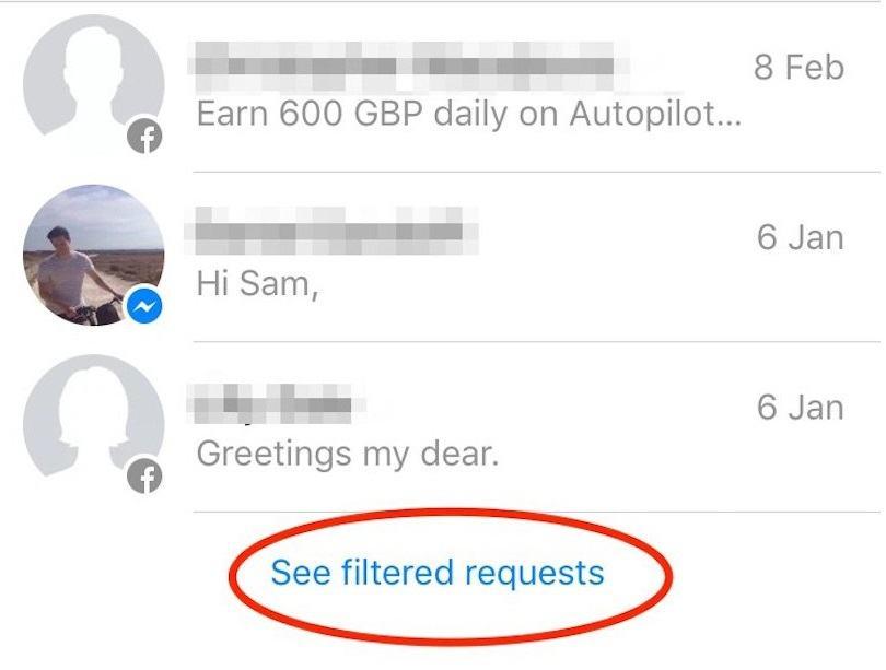 Tiếp theo, nhấn tiếp vào nút See filtered requests để thấy tất cả những tin nhắn bị ẩn đi trước đây.