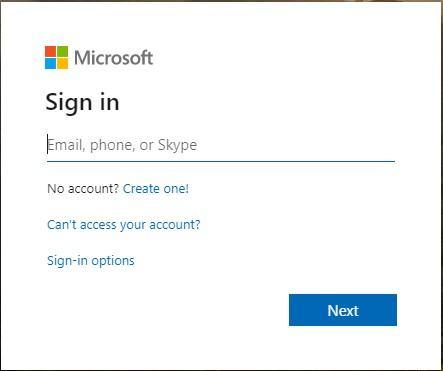Trang đăng nhập Microsoft