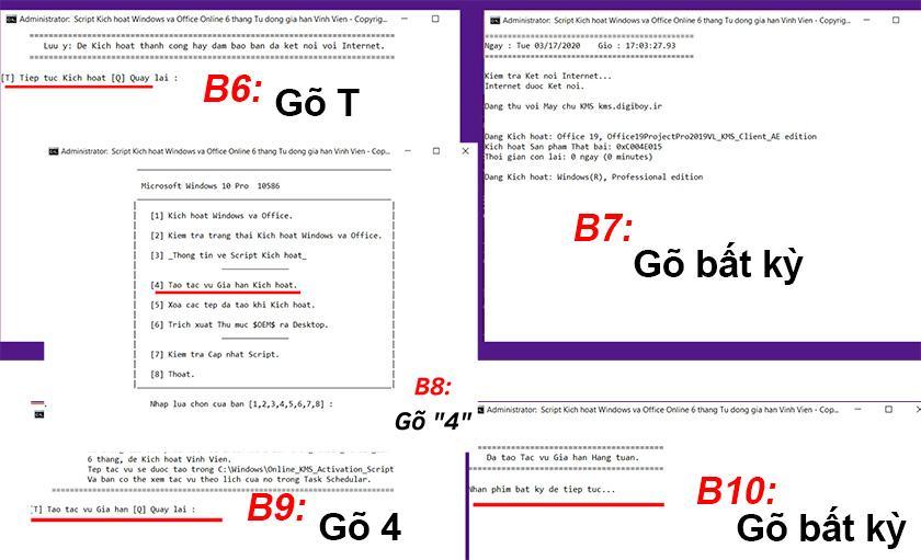 Tiếp tục Gõ phím T → Gõ phím bất kì → Gõ phím 4 → Gõ phím T → Gõ phím bất kì để hoàn tất