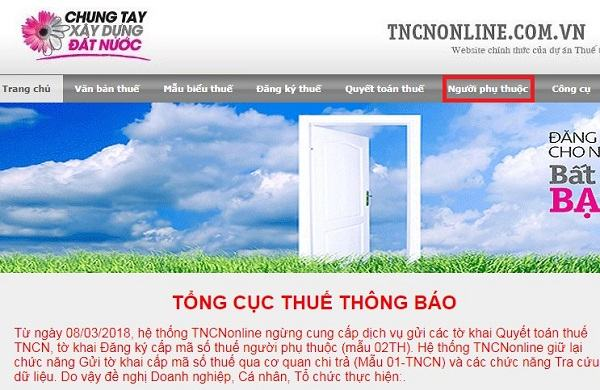 tra cuu ma so thue nguoi phu thuoc online