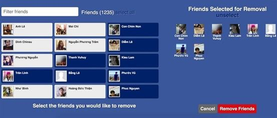 Việc của bạn tích chọn vào những người muốn huỷ kết bạn và chọn Remover Friend.