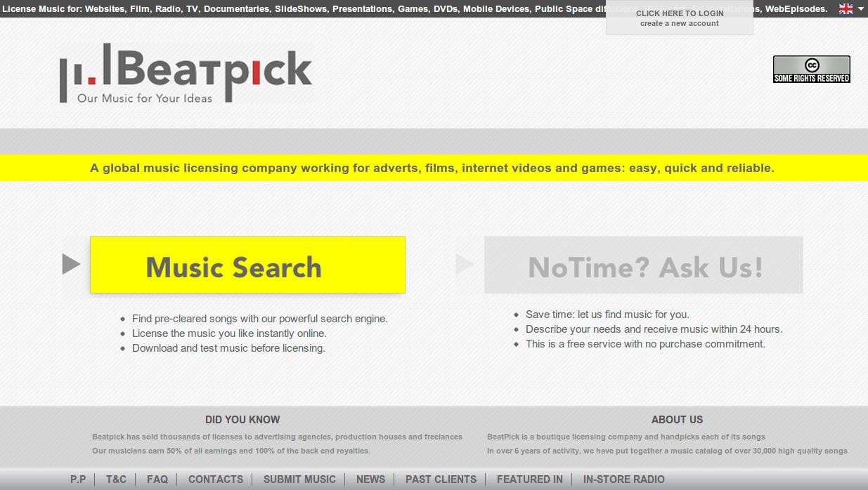 Kho nhạc nền quảng cáo Beatpick