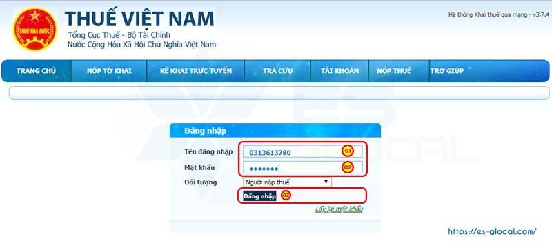 Điền thông tin TK và Mật khẩu đăng nhập hệ thống iHTKK