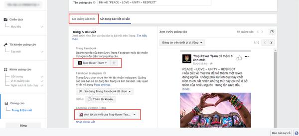 Giao diện hiển thị quảng cáo Facebook