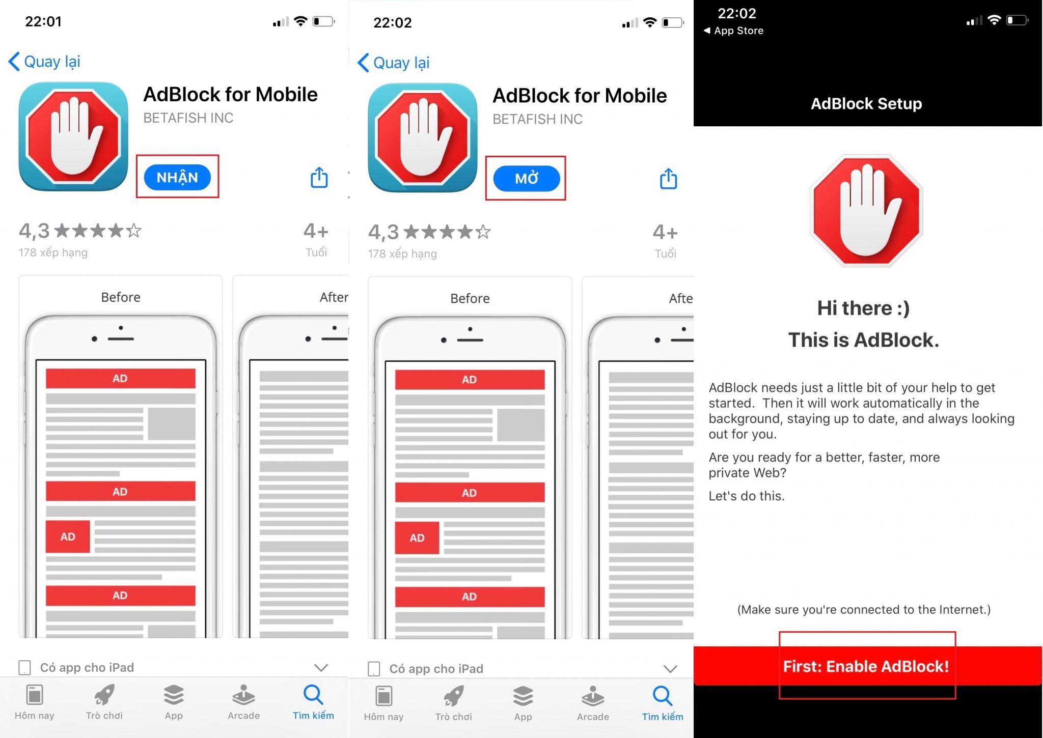 Sử dụng phần mềm chặn quảng cáo trên iOS