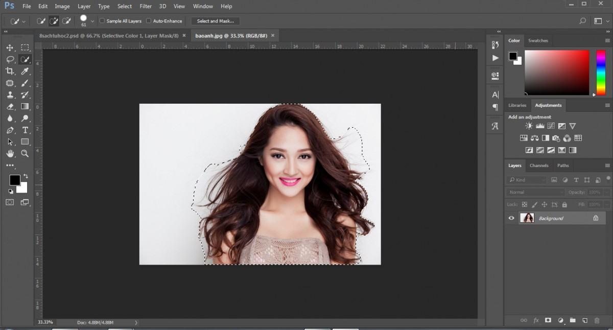 Các bước cắt hình trong photoshop