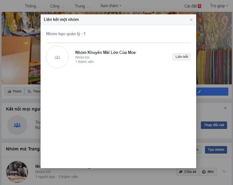 Chọn Group cần liên kết với Fanpage Facebook