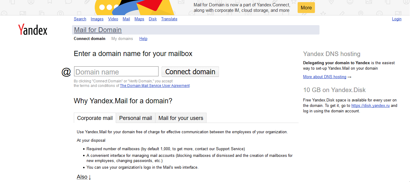 Email doanh nghiệp Yandex