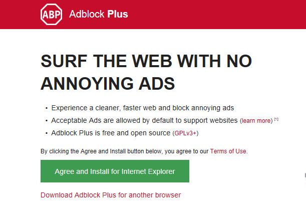 Chọn cài đặt trình chặn quảng cáo trên Explorer