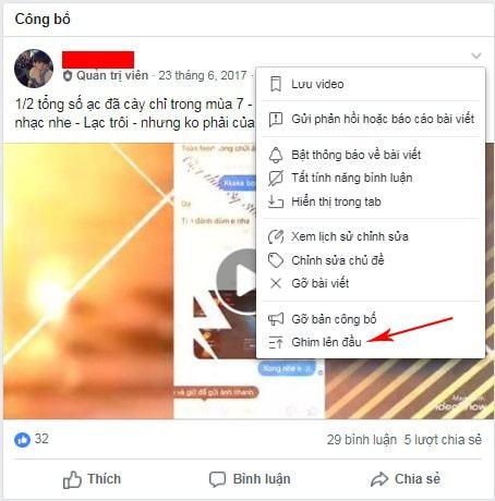 ghim bình luận trên facebook