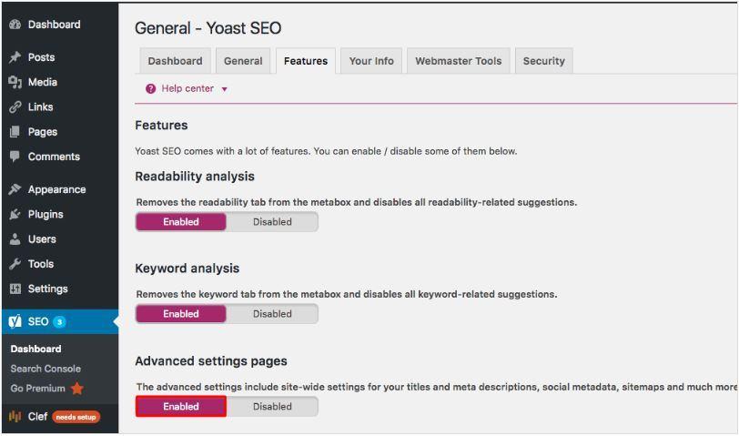 Kích hoạt yoast seo để tạo sitemap cho website wordpress