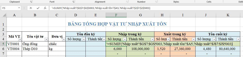 Công thức hàm Excel để quản lý kho