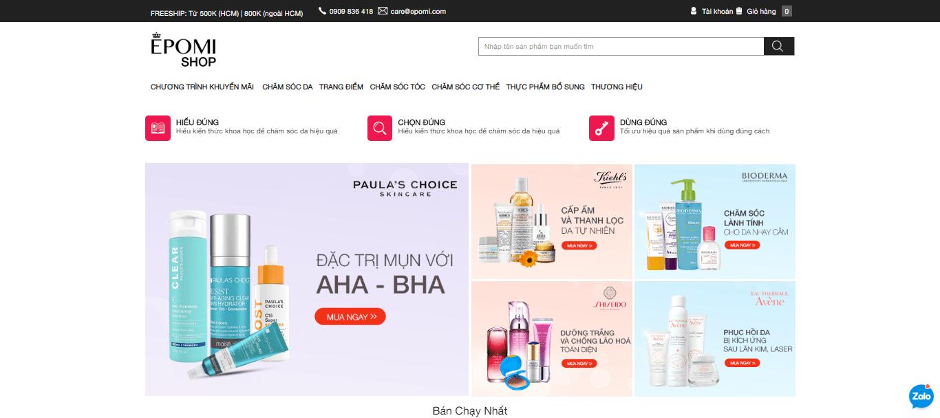 trang web kinh doanh mỹ phẩm