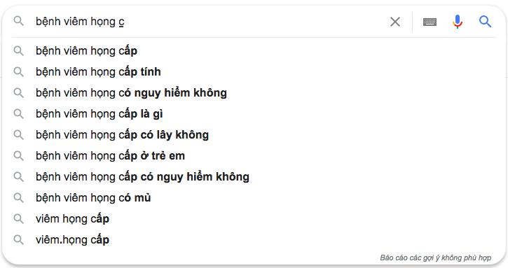 Google gợi ý tìm kiếm tốt nhất
