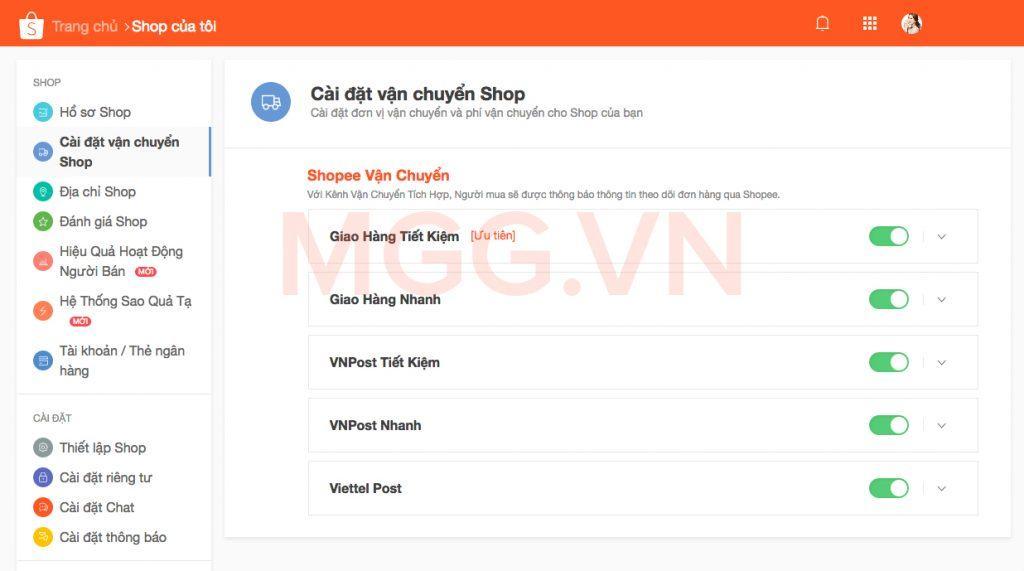 Cài đặt vận chuyển Shop trên Shopee.vn