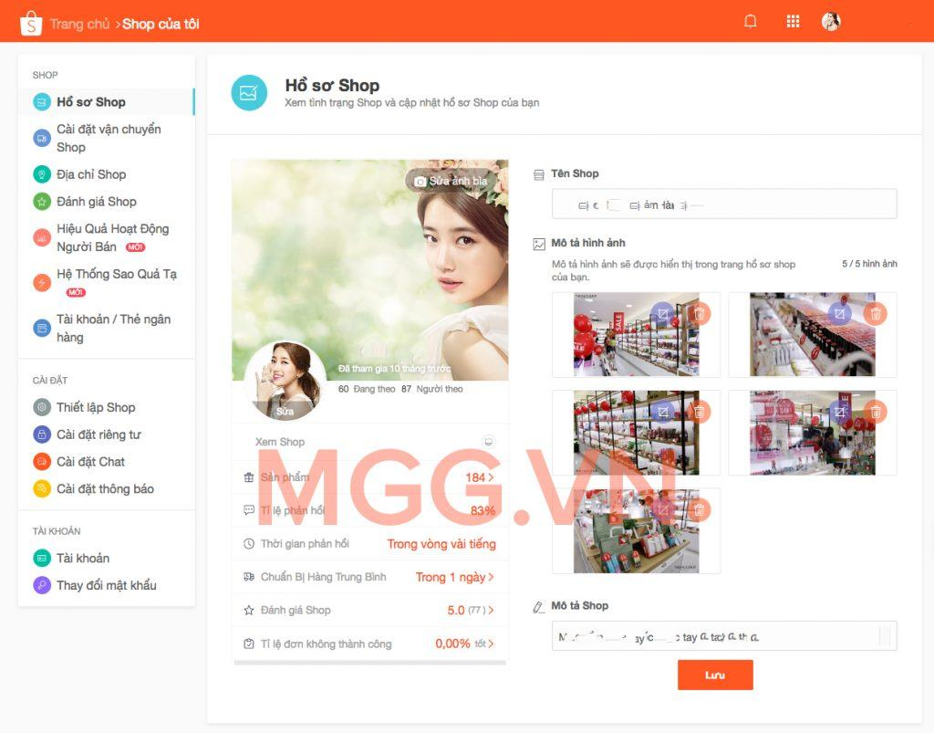Chỉnh sửa thông tin bán hàng trên Shopee