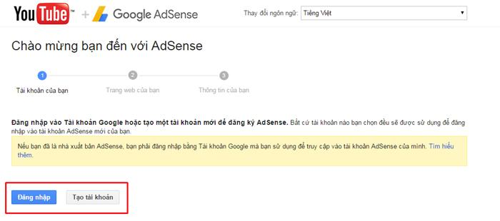 đăng ký google adsense cho youtube