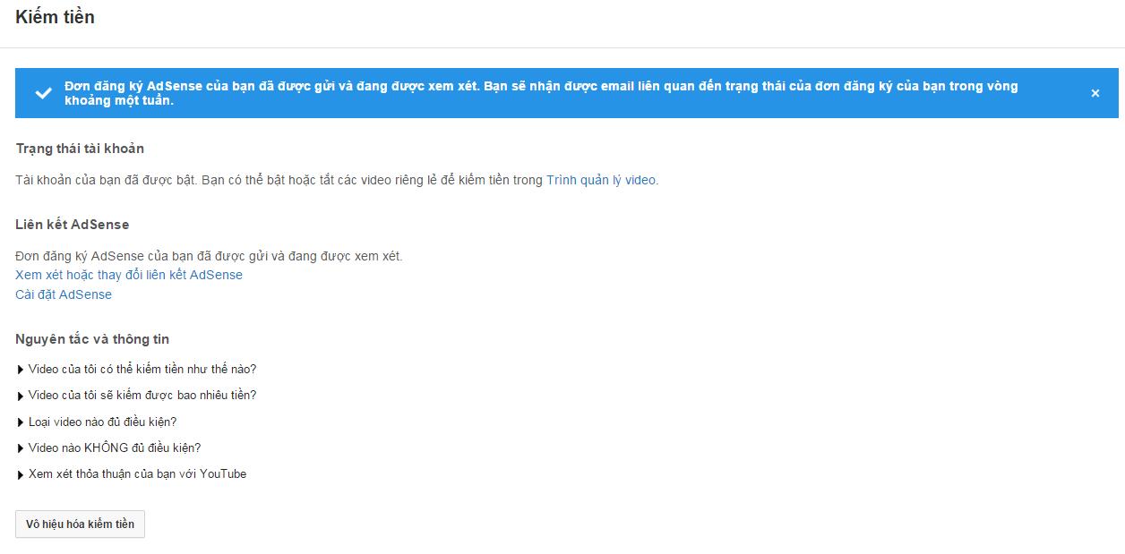đăng ký google adsense cho youtube thành công