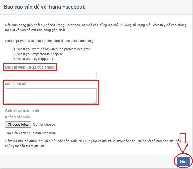 gui url fanfage cho facebook