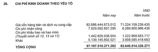 Nguồn: thuyết minh báo cáo tài chínhcông tycổ phầntoàn cầuDi động 2019