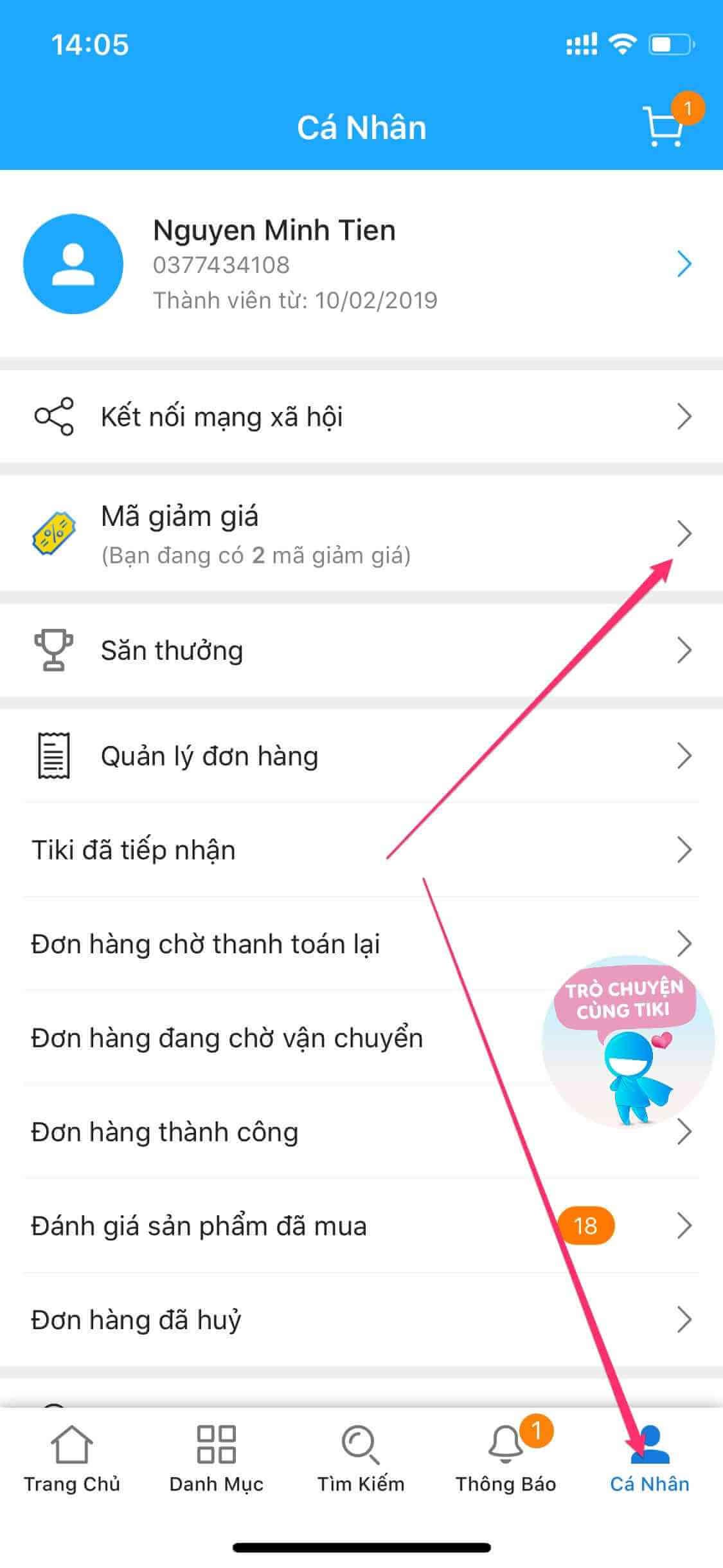 Mã giảm giá tiki trên app