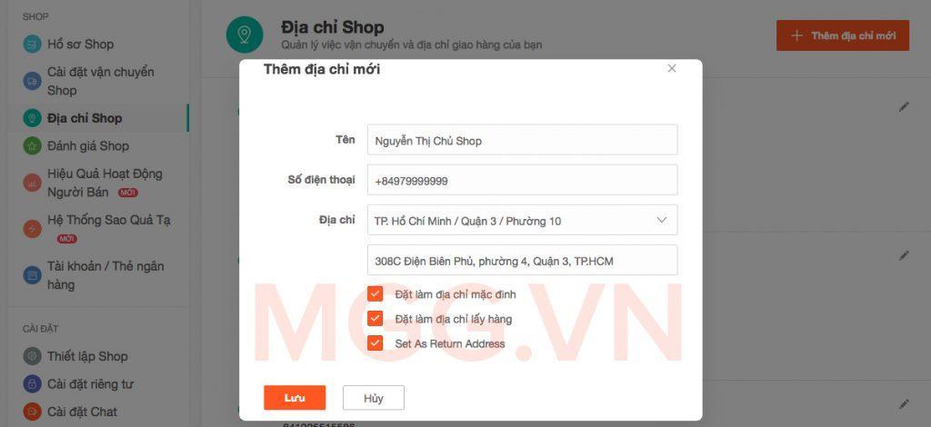 Thêm địa chỉ Shop bán hàng trên Shopee.vn