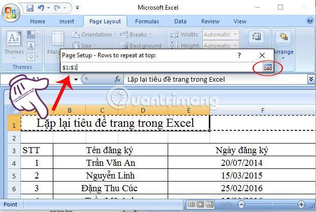 Lặp lại tiêu đề Excel