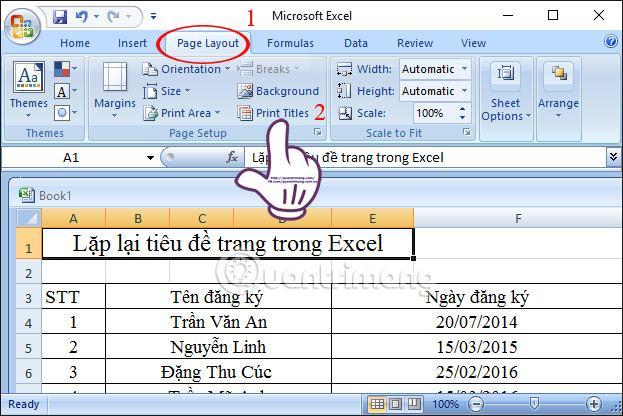 Lặp tiêu đề Excel