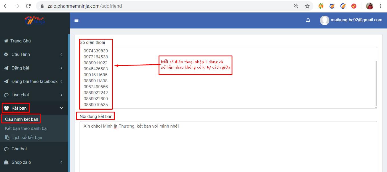 ket ban zalo tu dong 1 Hướng dẫn kết bạn zalo tự động bằng phần mềm kết bạn zalo Ninja Zalo