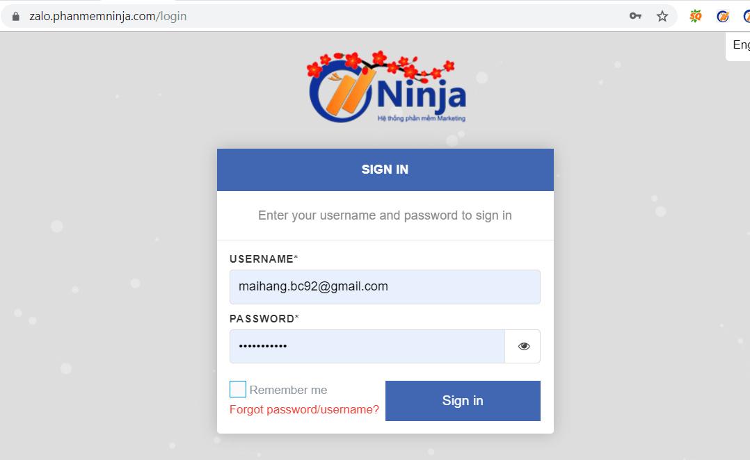 nhap tai khoan zalo 1 Hướng dẫn kết bạn zalo tự động bằng phần mềm kết bạn zalo Ninja Zalo