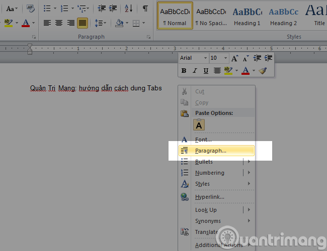 Tabs trong Word 2010