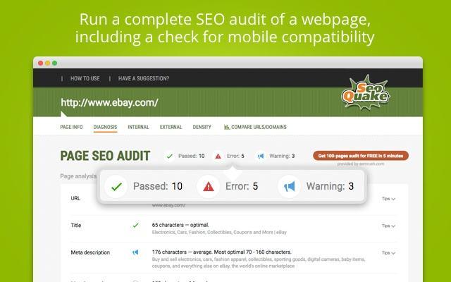 Kết quả khi dùng SEOquake kiểm tra thông tin website