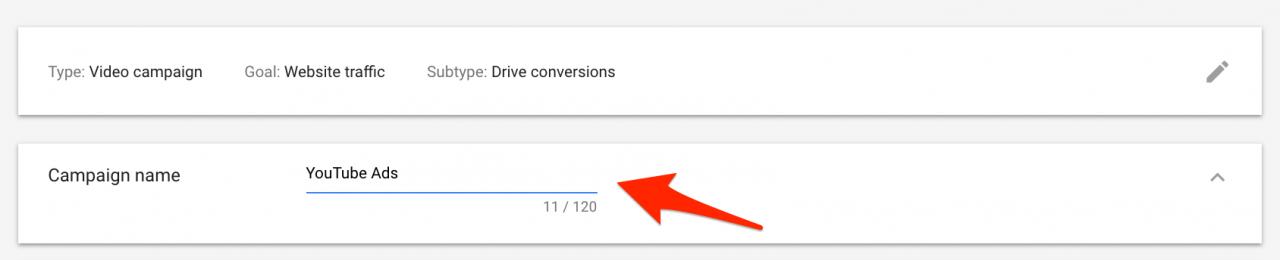 Đặt tên cho chiến dịch quảng cáo video Google