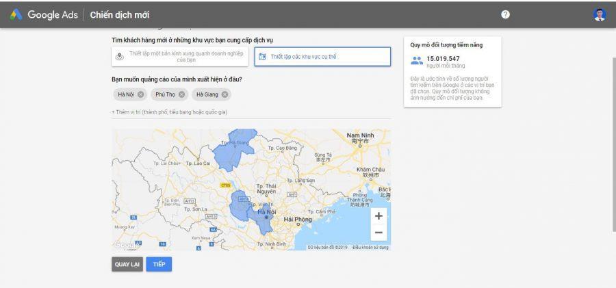 Thiết lập vị trí quảng cáo google