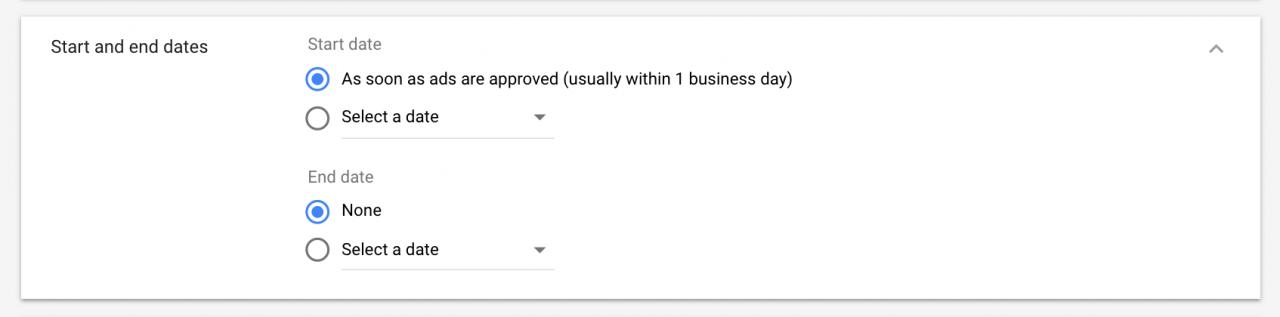 Chọn ngày cho chiến dịch quảng cáo YouTube