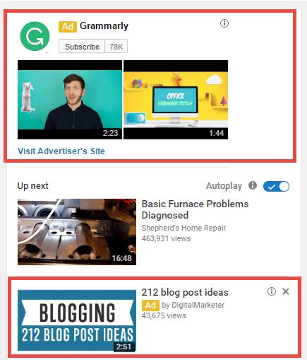 Quảng cáo YouTube đề xuất