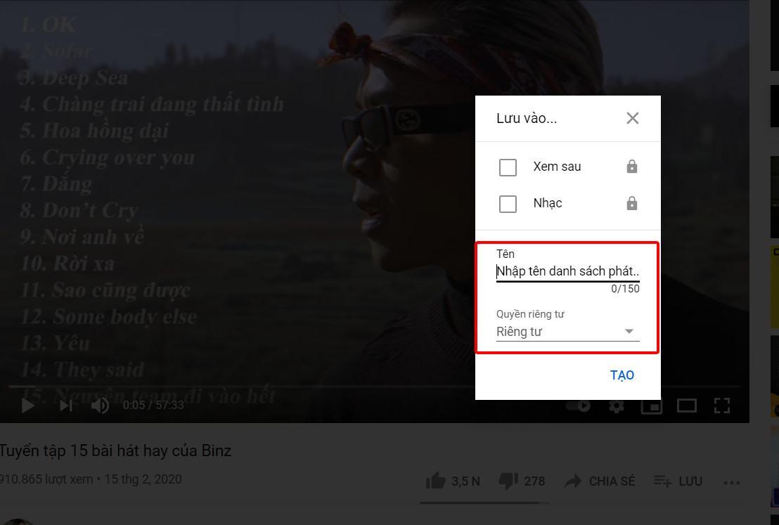Cách tạo playlist trên youtube