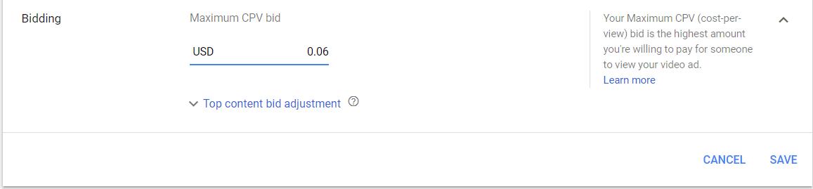 Giá thầu CPV cho video YouTube Ads