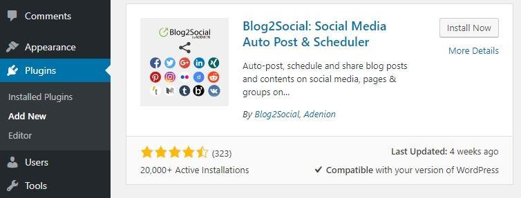 Cài đặt plugin Blog2Social.