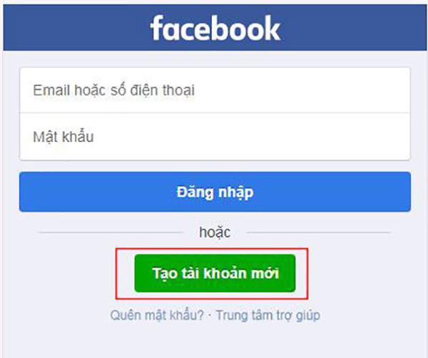Đăng ký tạo tài khoản mới trên Facebook