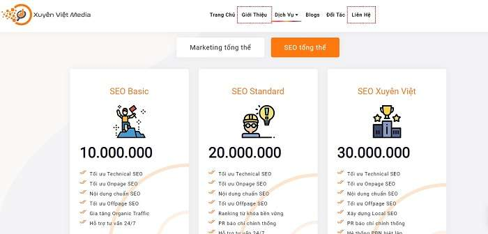 Landing Page dịch vụ của Xuyên Việt Media
