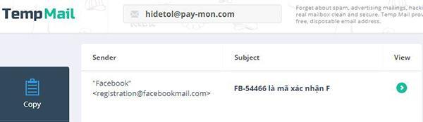 Nhận mã xác nhận Facebook từ email dùng tạo tài khoản