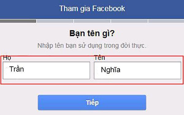 Nhập Họ và Tên để khởi tạo nick Facebook