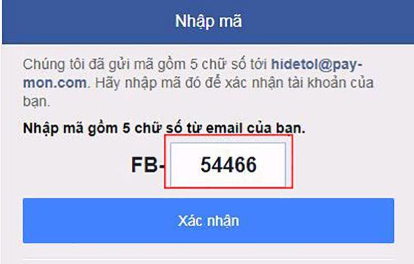 Nhập mã xác minh từ Facebook để hoàn tất đăng ký