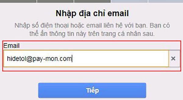 Sử dụng email 10 phút để xác minh tài khoản Facebook