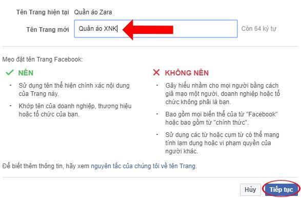 Thay đổi tên page Facebook