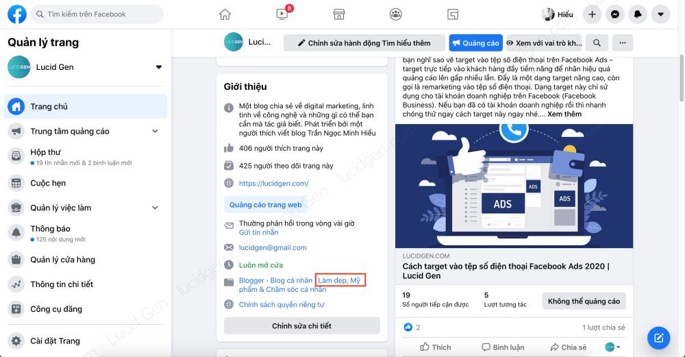 Target vào khách hàng của đối thủ trên Faceboo Ads - Tìm phần Giới thiệu của trang, nhấp vào danh mục