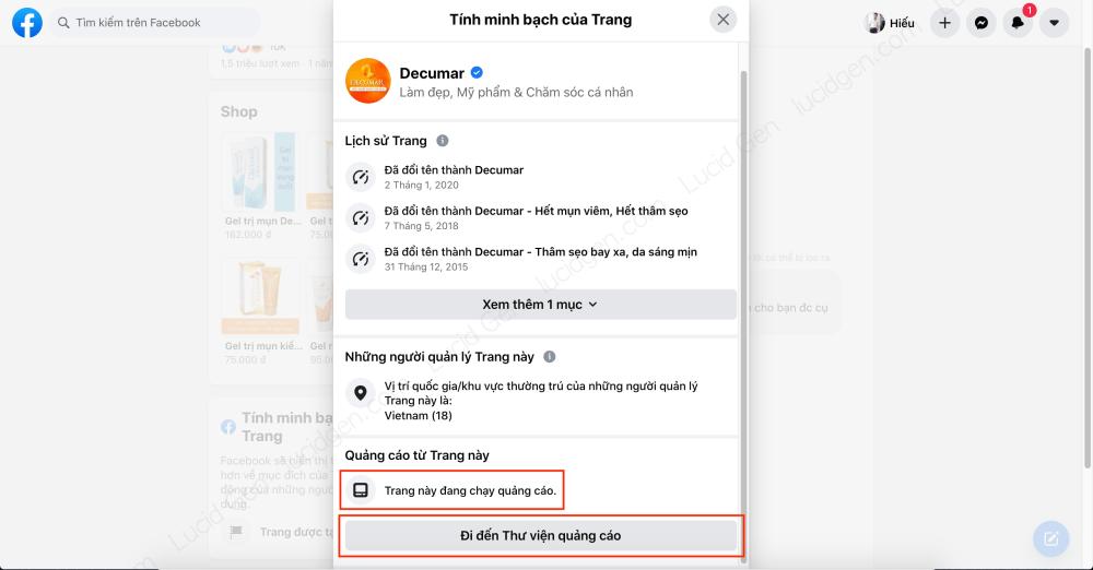 Target vào khách hàng của đối thủ trên Faceboo Ads - Trang này đang có chạy quảng cáo, nhấp vào thư viện quảng cáo để xem sao