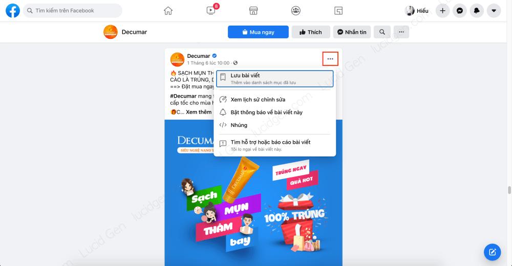 Target vào khách hàng của đối thủ trên Faceboo Ads - Nhấp nút 3 chấm để lưu bài viết