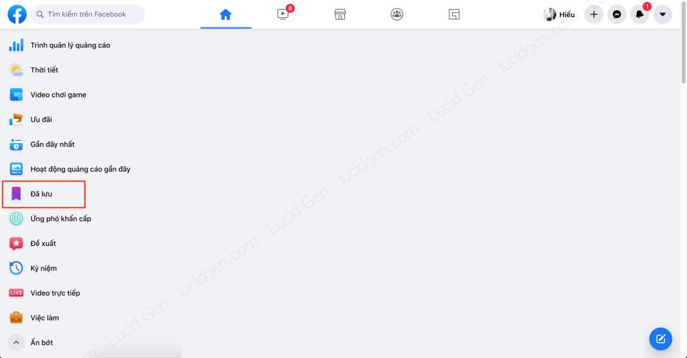 Target vào khách hàng của đối thủ trên Faceboo Ads - Xem lại các bài viết trong phần Đã lưu ở trang chủ Facebook